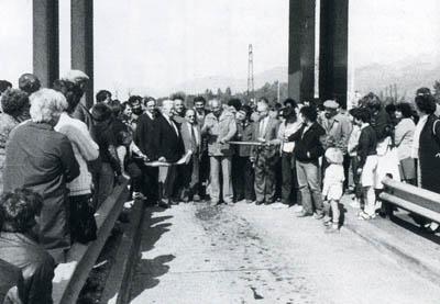 Inauguration symbolique de l'autoroute gratuite en 1982